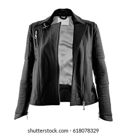Female leather jacket on isolated white background.