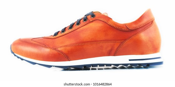 Female leather sneakers isolated on a white background