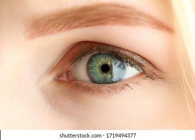 Female left grey green coloured amazing eye close-up