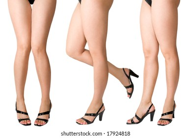 Female legs in black shoes