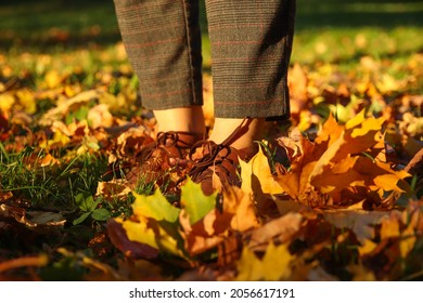Female legs in capri pants and brogues shoes on dry autumn bright leaves background. Bright stylish woman in orange coat walking in october park.