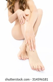 female legs and hands. shot in studio