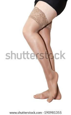 0f7dedd744e Female Legs Nylon Stockings Isolated On Stock Photo (Edit Now ...