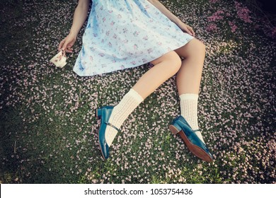 Female legs over the prairie in bloom - Alice in wonderland style - She has white socks and blue Mary Jane shoes - Idyllic blossom prairie, romantic and vintage mood - Shabby chic flowers and woman