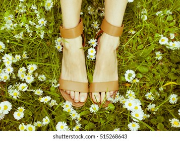Female legs in sandals on a grass/toned photo