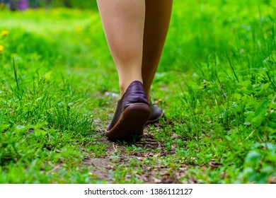 Female legs walking along the path in the forest with green grass and various plants
