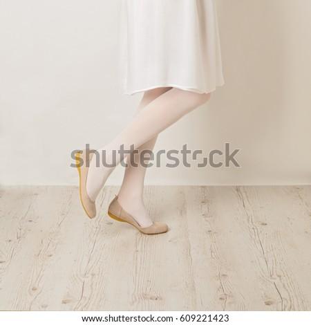 b3bd2db6e ... Stock Photo (Edit Now) 609221423 - Shutterstock. Female legs in white  tights