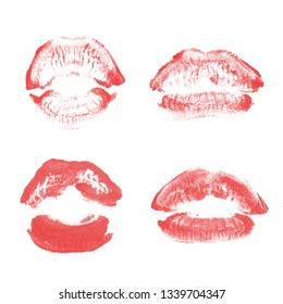 Female lips lipstick kiss print set for valentine day and love collection isolated on white background. Shape of lips makeup swatch gloss smear. Red color