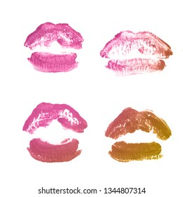 Female lips lipstick kiss print set for valentine day and love collection isolated on white background. Shape of lips makeup swatch gloss smear. Bronze color