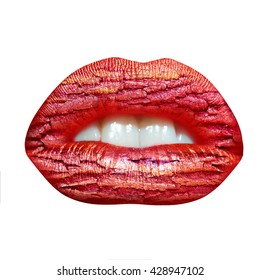 female lips red color combined with cracked old tree bark texture overlay isolated on white background, double exposure