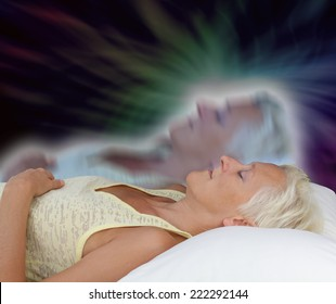 Female lying supine with eyes closed experiencing astral projection on dark background showing astral body rising up