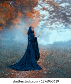 female magician flees in the autumn orange forest, wearing a blue velvet cloak with a hood and wide sleeves. frozen moment of deadly danger. red elf in search of herbs for the love potion