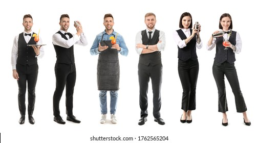 Female and male bartenders on white background