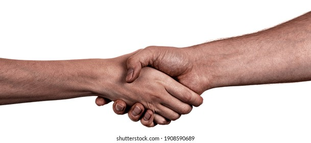 Female and male black hands  isolated white background showing interlocked fingers gesture. african woman and man hands showing different joint gesture