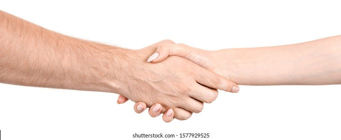 Female and male caucasian hands  isolated white background showing handshake gesture, greetings. woman and man hands showing joint different gestures