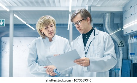 Female and Male Chief Scientists Walking Through Modern Laboratory and Discussing Future Possibilities. Young Woman Assistant Works at Her Desk.