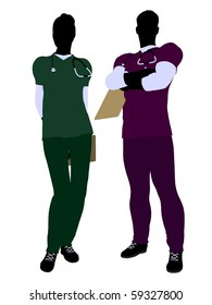 Female and male doctor silhouette on a white background