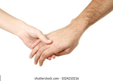 Female and male hand holding each other on white background