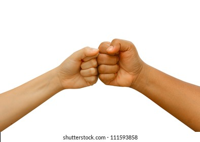 Female and male  people giving a fist bump,Fist bump hand sign coherence isolated in white background