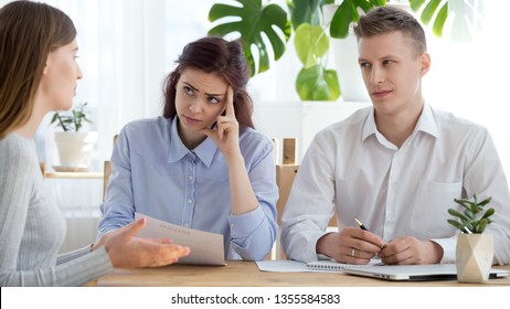 Female manager listen to job applicant at interview. Business meeting with new candidate. Human resources, no recruiting, office work concept, reject, mistrust, bad resume, first impression, fraud