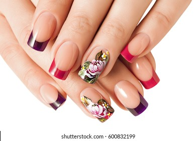 Female manicure , floral patterns. Isolated on white.
