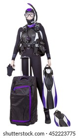 Female mannequin quite Diving, with a bag of equipment. Studio photo isolated on white background.