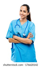 Female medical doctor Indian woman smiling confident stethoscope white background