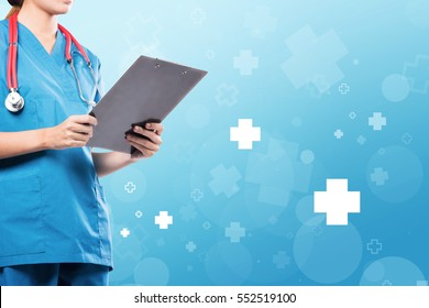 Female medical doctor suit holding a patient form with blue hospital icon background.