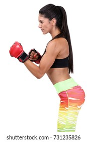 Female mma fighter isolated on white background