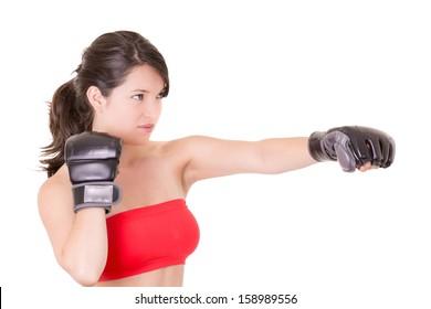female MMA fighter training white background