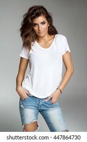 Female model isolated on grey background