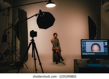 Female model posing for a photo shoot