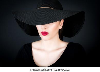 female model shot on black