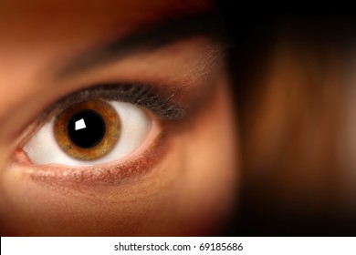 Female model's eye looking into the camera