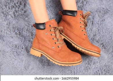 A female model's legs were covered in Martin boots
