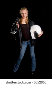 Female motorcyclist with a gun and helmet
