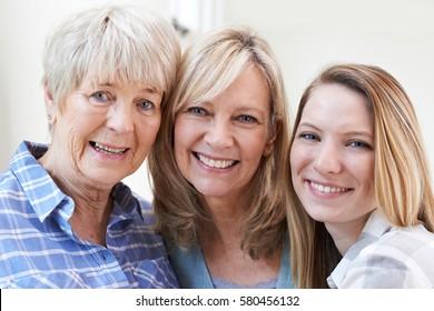 Female Multi Generation Portrait At Home