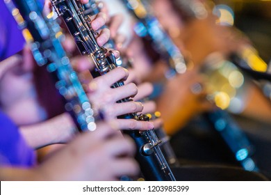 Female musician hands playing on clarinet, with blurred foreground and background