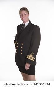 Female naval officer in uniform  Wearing the uniform of a Lt Commander