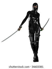 Female ninja holding two swords