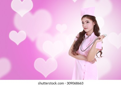 female nurse with stethoscope with heart background