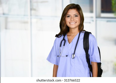 Female nurse working her job in a hospital
