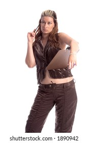 Female office worker with clipboard and pen
