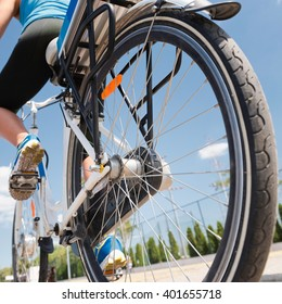 female on electric bicycle