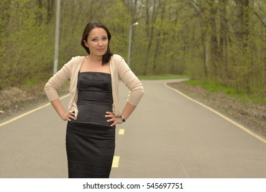 Female on a forest road