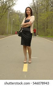 Female on a road