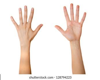 Female open palms both sides isolated on white background.