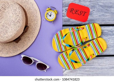 Female outfit for beach resort. Flat lay, top view. Summer items arrangement.