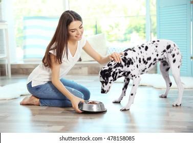 Female owner feeding her dalmatian dog