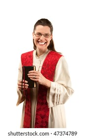 Female pastor with red stole and Bible